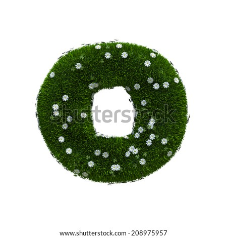 capital letter O spring or summer meadow  - stock photo