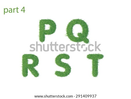 Capital letter P Q R S T texture green grass - stock photo