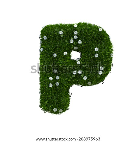 capital letter P spring or summer meadow  - stock photo