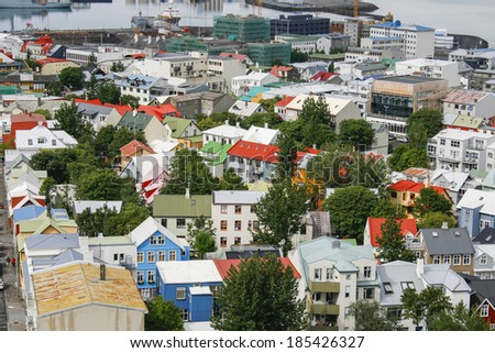 Capital of Iceland, Reykjavik, view from the Hallgrimskirkja Church  - stock photo