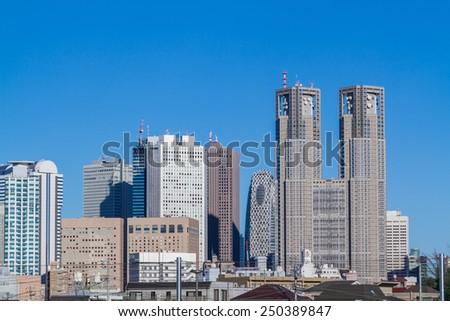 Capital of Japan skyscrapers of Tokyo Shinjuku - stock photo