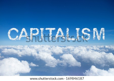 Capitalism clouds word on sky over clouds. - stock photo