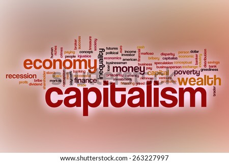 Capitalism word cloud concept with abstract background - stock photo