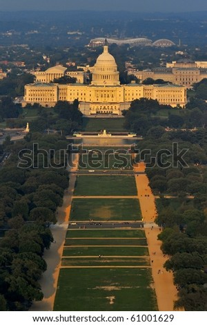 Capitol and National Mall from Washington Monument - stock photo