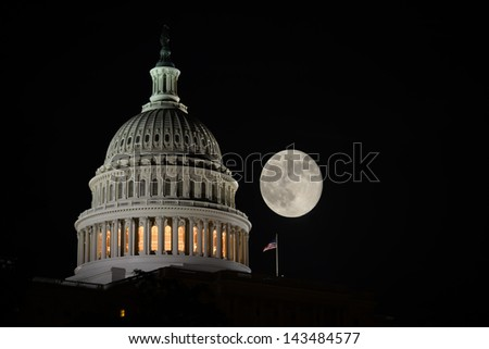 Capitol Building dome detail an full moon at night, Washington DC - United States - stock photo