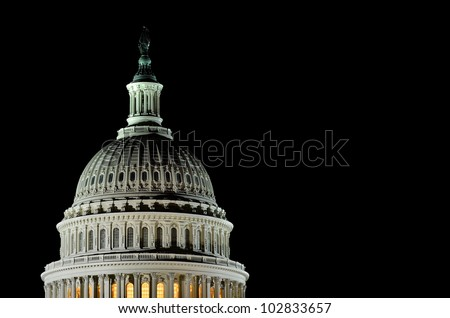 Capitol Building dome detail at night - Washington DC United States - stock photo