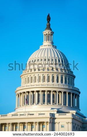 Capitol building dome Washington DC USA US congress - stock photo