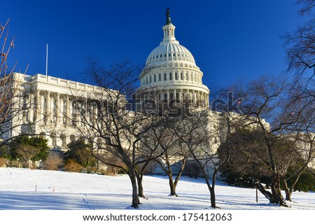 Capitol Building in a snowy winter day - Washington DC - USA - stock photo