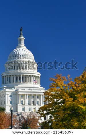 Capitol Building in Autumn - Washington D.C. United States of America - stock photo