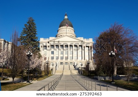 Capitol Building in Salt Lake City early spring, Utah, United States - stock photo