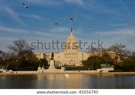 Capitol building in spring - Washington DC - stock photo