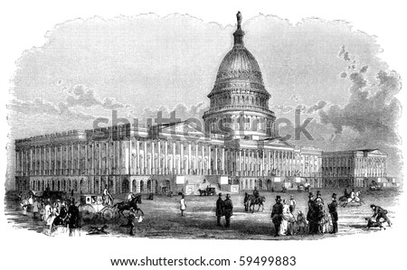 "Capitol building in Washington D.C. Illustration originally published in Hesse-Wartegg's ""Nord Amerika"", swedish edition published in 1880. - stock photo"