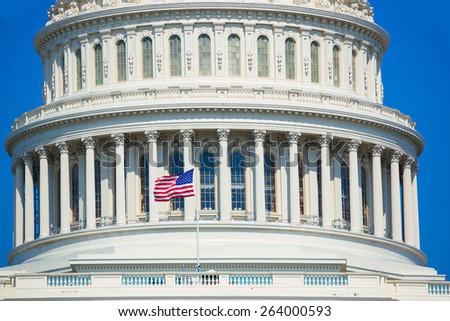 Capitol building Washington DC american flag USA congress US - stock photo