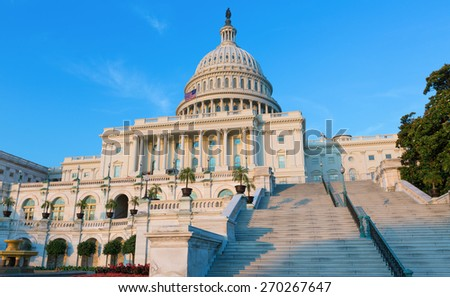 Capitol building Washington DC sunlight USA US congress - stock photo