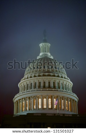 Capitol dome at dusk in front of US Capitol, Washington DC, USA (slight grain) - stock photo