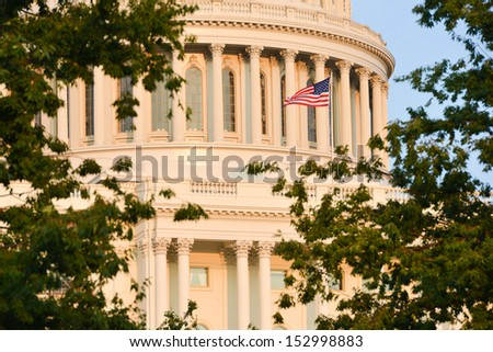Capitol dome in autumn - Washington DC, United States - stock photo