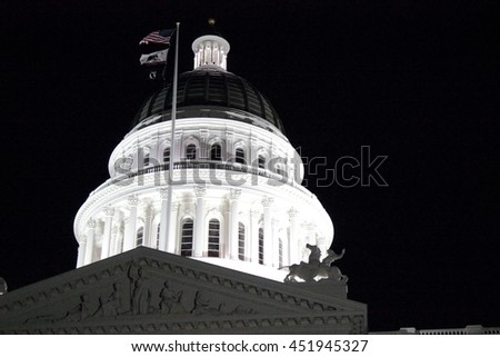 Capitol dome in Sacramento - stock photo