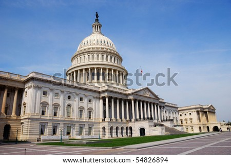 Capitol Hill Building closeup with blue sky in Washington DC - stock photo