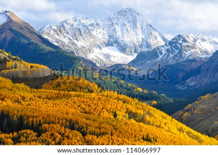 Capitol Peak, a distinctive 14,000' mountain in the Elk Mountains of Colorado - stock photo