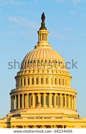Capitole in Washington D.C. at Christmas and Christmas Tree - stock photo