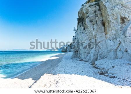 Capo Bianco beach, Elba island. Italy. - stock photo