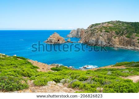 Capo Pecora promontory in Buggerru, west Sardinia, Italy - stock photo