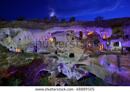 "Cappadocia, Ayvali village. Some ""cavehouses"" in a beautiful valley, that once served as cells for the monks of a Greek-Orthodox monastery. Located between Urgup and Sinasos (Mustafapasa), - stock photo"