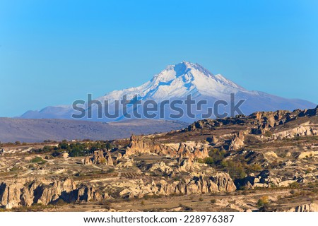 Cappadocia landscape, view to Erciyes Mountain - stock photo