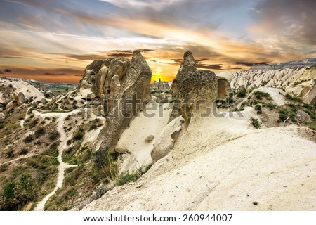 Cappadocia, ?olcanic mountains in Goreme national park. Anatolia, Turkey.  - stock photo