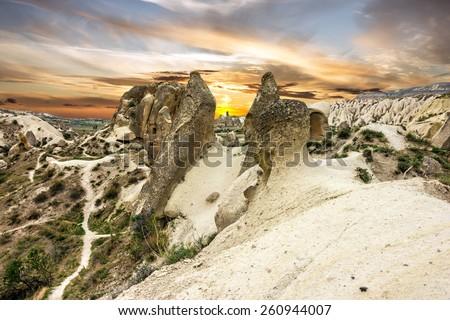 Cappadocia, ?olcanic mountains in Goreme national park. Anatolia, Turkey.  - stock photo