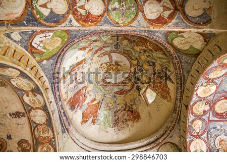 Cappadocia, Turkey. Fresco in cave orthodox church El Nazar,  - stock photo