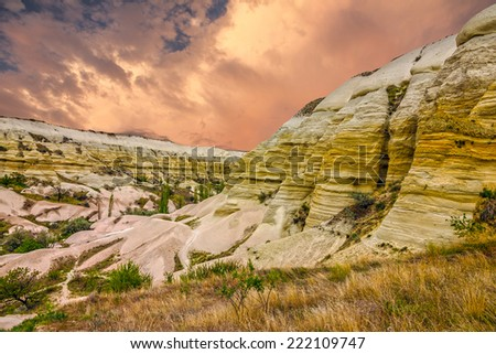 Cappadocia, Turkey. Sunset - volcanic rock landscape, Goreme national park. Love valley - stock photo