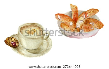 cappuccino and cantuccini italian cookies, hand-drawn watercolor - stock photo
