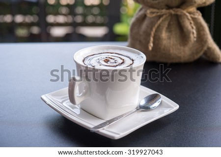 Cappuccino coffee cup ,Hot coffee in white mug - stock photo