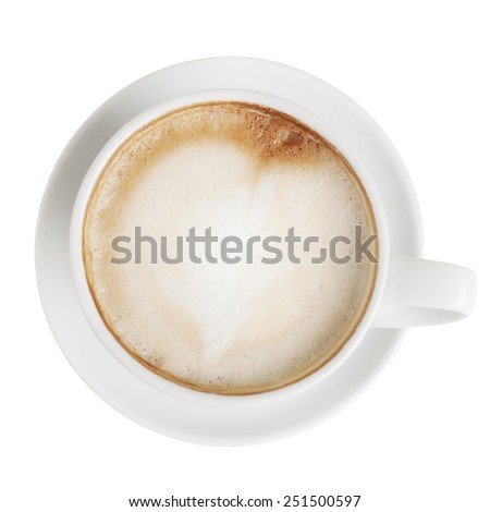 Cappuccino cup with saucer isolated on white with clipping path. Top view - stock photo