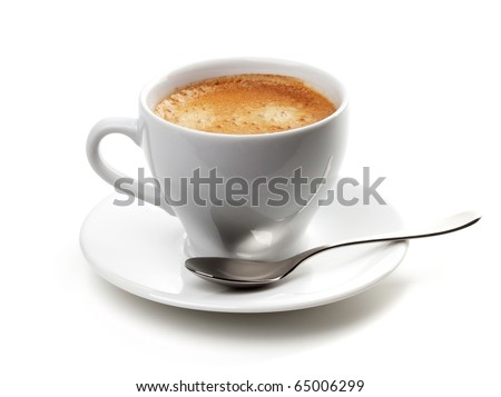 Cappuccino cup with silver spoon. Isolated on white background - stock photo