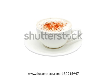Cappuccino in a white bowl with grated chocolate. Isolated on white background. - stock photo