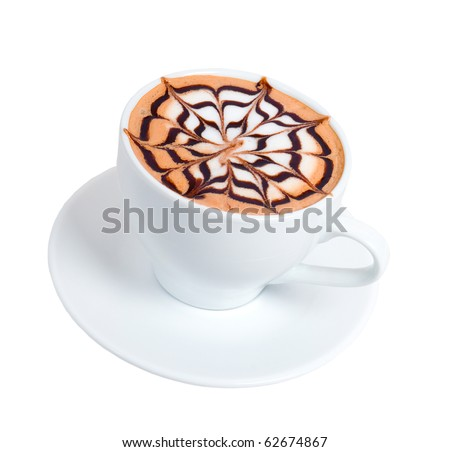 cappuccino time.late coffee with chocolate.isolated on white background - stock photo