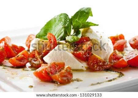 Caprese Salad - Salad with Tomatoes, Mozzarella Cheese, Balsamic - stock photo