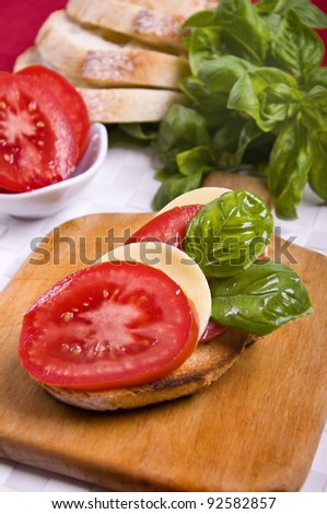 Capresse salad toast with french bread and branch of basil, on a white mat - stock photo