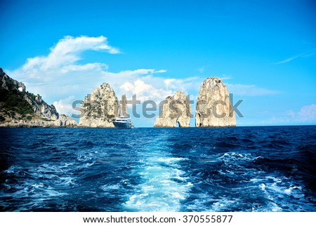 Capri island, famous Faraglioni rocks, Italy - stock photo