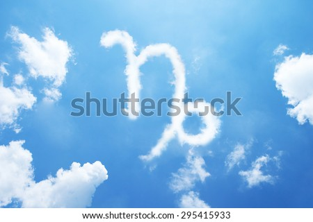Capricorn cloud zodiac sign on sky. - stock photo