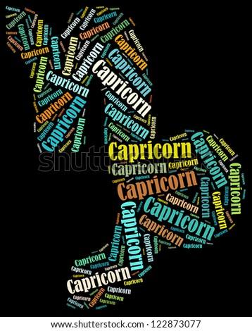 Capricorn zodiac info-text graphics composed in Capricorn zodiac sign shape on black background - stock photo