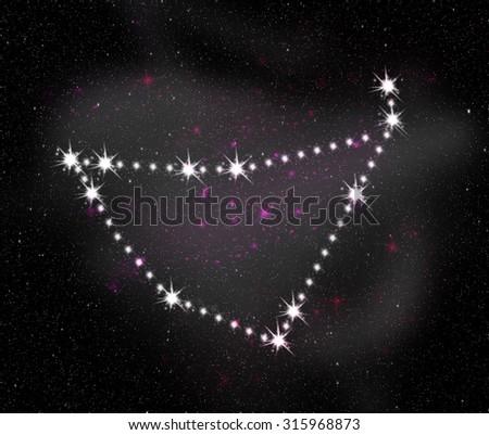 Capricornus zodiac sign. Constellation map. Constellations background. Space stars wallpaper. Horoscope constellations background. Zodiac constellations. Galactic constellations and stars. - stock photo