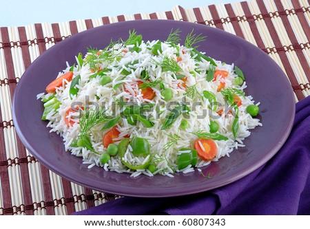 Capsicum & Carrot Rice - stock photo