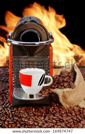 Capsule Coffee Machine and coffee cup  - stock photo