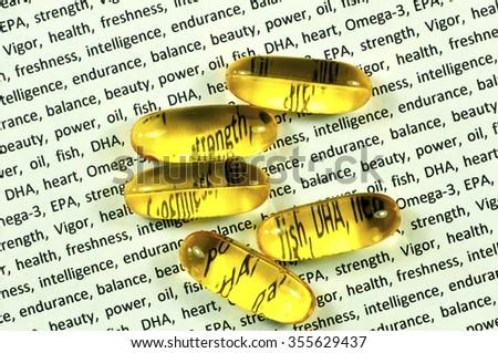 capsule of fish oil, omega 3 EPA, DHA - stock photo