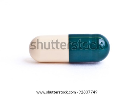 capsule pill isolated on white background - stock photo