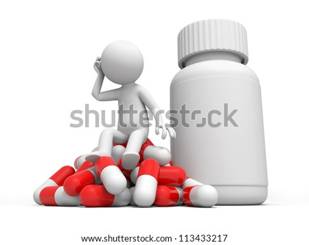 Capsule/think/a man thinking, sitting on a capsule - stock photo