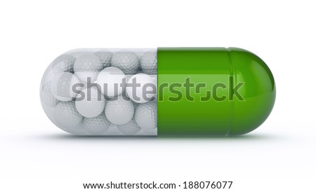 capsule with golf balls - stock photo